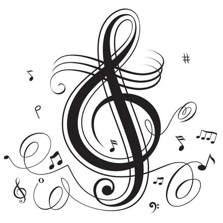notes music: Abstract funky musical notes, layered. All elements are individual objects and grouping. Illustration