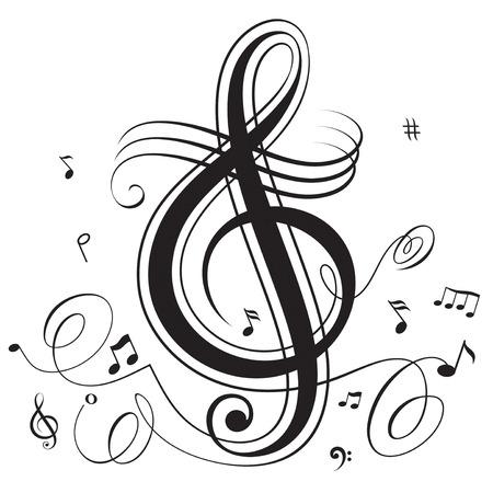 simbolos musicales: Abstractas funky notas musicales, en capas. Todos los elementos son objetos individuales y la agrupaci�n.