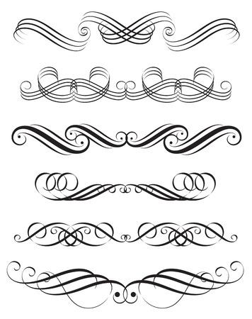 horizontal line: Set of decoration elements design, illustration.