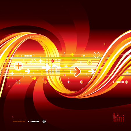 Abstract Technology connection red background Vector
