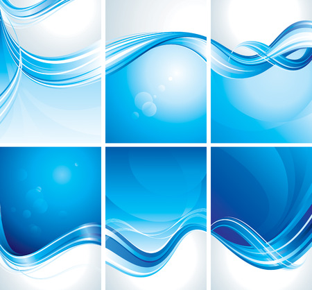 flow of colors: Set of simple abstract blue background Illustration