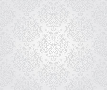 seamless damask: Patr�n de papel tapiz retro transparente en colores claros.  Vectores
