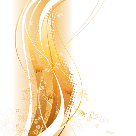 brown background: Autumn floral background with copy space. layered. Illustration