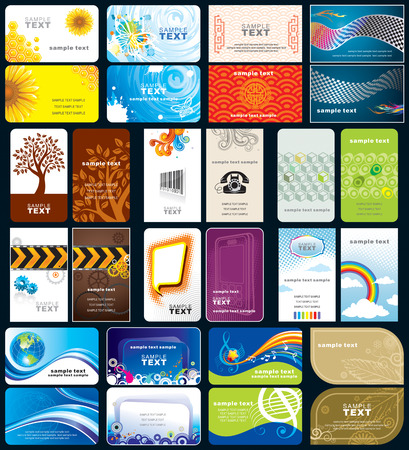 Set of variety business cards, front and back design. Vector