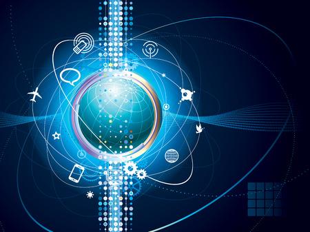 kommunikation: Technology background of Global communication connection.