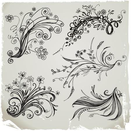 Set of hand draw floral elements and grunge background. Vektorové ilustrace