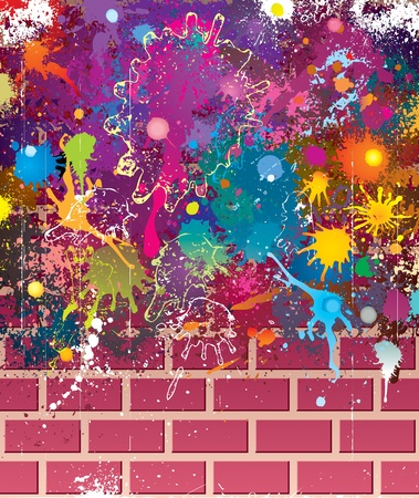 Splatter colors on brick wall. Vector