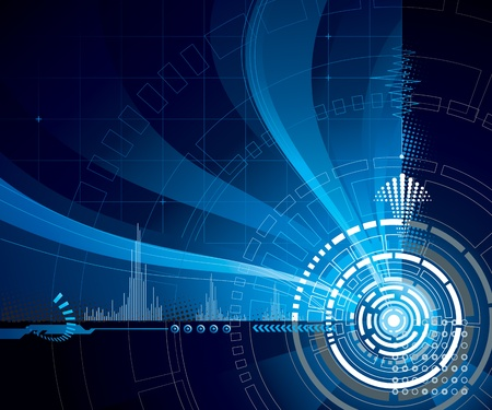 industrial automation: Technology abstract background in dark blue.