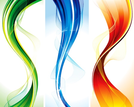 Vector set of floating elements vertical banners.