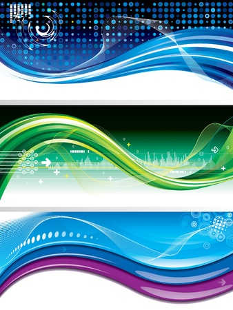 stream  wave: Set of abstract technology wave horizontal backgroundbanner.