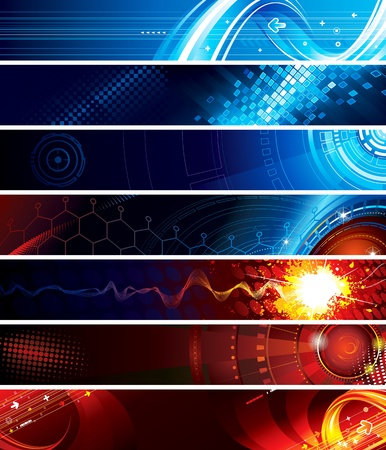 Set of abstract technology web banner Illustration