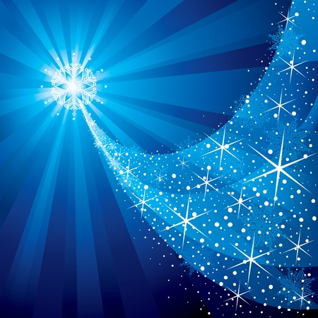 Christmas background, shiny stars and snowflake pattern. Vector