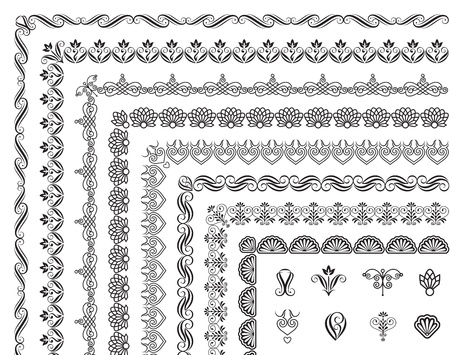 Set of border elements design. Vector