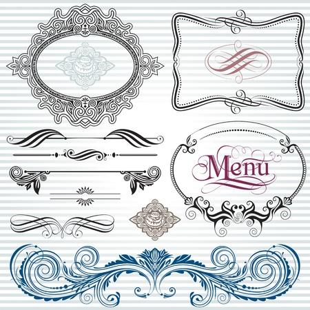 elegante: Ornamentali e la pagina di decorazione elementi di design.