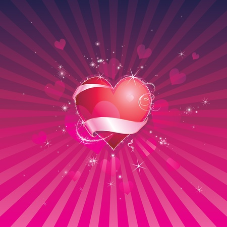 Red shiny heart of valentine background. Vector