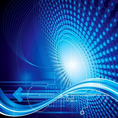 技術抽象構成藍色背景。 向量圖像