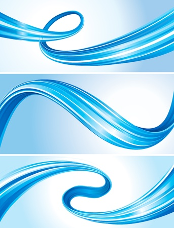 banner effect: Set of abstract flowing curve, tech connection background