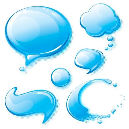 water splash: Set of water speech bubbles.