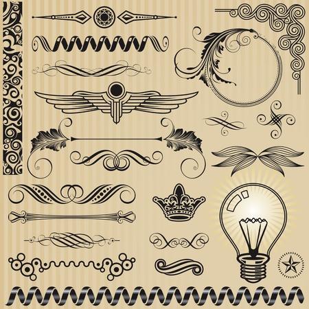 calligraphique: ensemble d'�l�ments de conception d'ornement et de d�coration page.