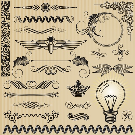 set of Ornamental design elements and page decoration. Vector