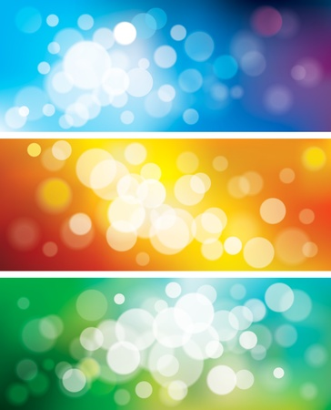 Set of blurred defocused lights background. Vector