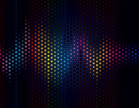 geluid: Abstracte achtergrond van geluidsgolven met luidspreker grille.