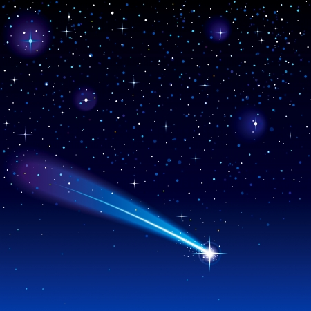 Estrella fugaz cruzando el cielo estrellado. Ilustración de vector