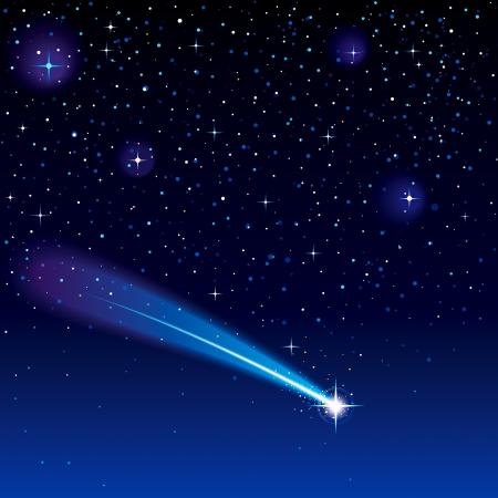 himmelsblå: Shooting stjärnan går över en stjärnhimmel.