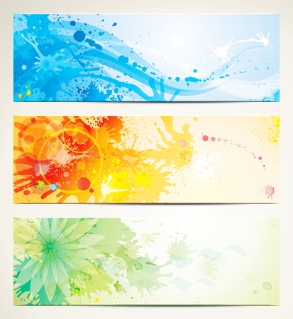 watercolor blue: Watercolor style header banners.  Illustration