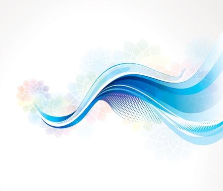 Resumen de fondo azul de la onda con la fragancia de flores en colores pastel.
