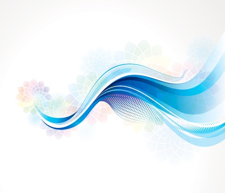 fragrances: Abstract blue wave background with fragrance pastel floral.