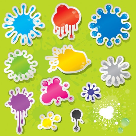Set of colors splashes stickers with water drops.