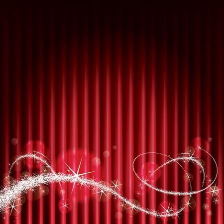 shining light: Fondo del escenario rojo con destellos m�gicos. Vectores