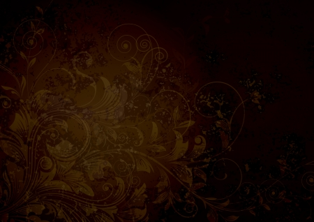 Grunge textured floral dark brown background.