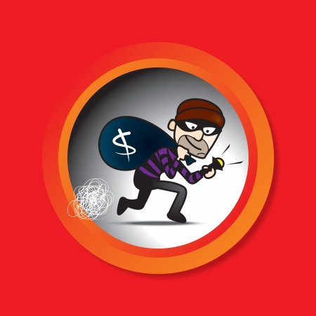 mugger: illustration of Sneak Thief with red background. Illustration