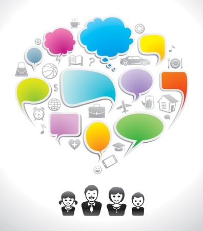 kommunikation: Familj chatt, kommunikation anförande ikon, dialog, tala bubbla Illustration