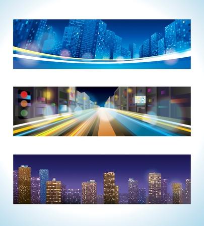 Urban Night  Vector banner set of city landscape, street lights, city panorama
