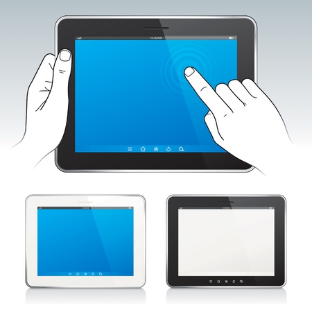 Digital tablet pc with hands, blank screen, white and black tablets color  Vector