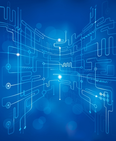 electric circuit: Abstract technology blue background. Illustration
