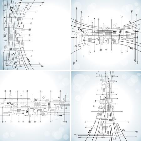 сеть: Набор абстрактных фоне схемотехники. Иллюстрация