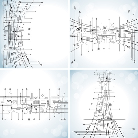 tech: Conjunto de fondo abstracto circuito tecnolog�a. Vectores