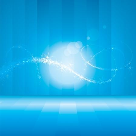 幻想的な灯りで抽象的な青い背景。