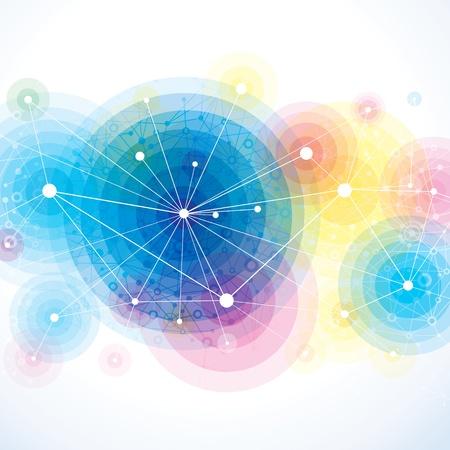 Fondo colorido abstracto de la molécula. Ilustración de vector