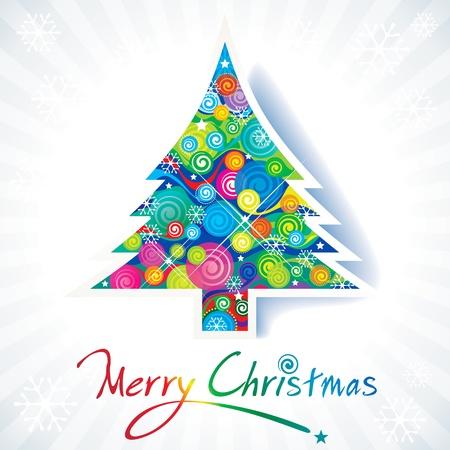 手書きテキストとカラフルなクリスマス ツリー。  イラスト・ベクター素材