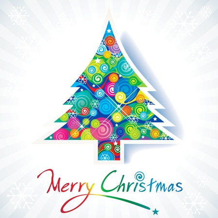 Kleurrijke Kerstboom met handschrift tekst.