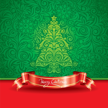 Christmas tree wallpaper with ribbon banner. Vector