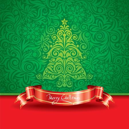 Kerstboom behang met lint banner. Stock Illustratie