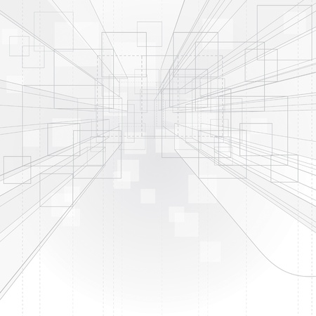 Abstract perspective outline drawing background for interior architecture.  Vector