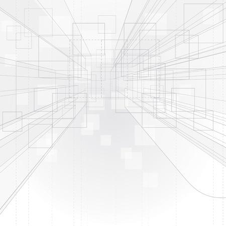 outline drawing: Astratto disegno di sfondo prospettiva muta per interni  architettura.