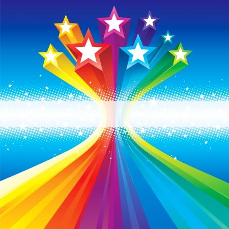 休日のお祝いのための抽象的な背景を流れる星です。  イラスト・ベクター素材